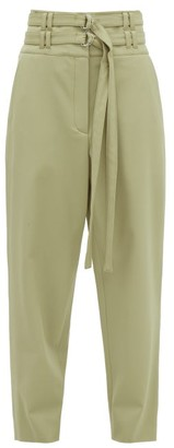 Proenza Schouler High-rise D-ring Belt Wool-blend Trousers - Light Green