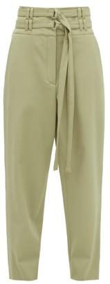 Proenza Schouler High-rise D-ring Belt Wool-blend Trousers - Womens - Light Green