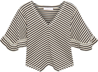 See by Chloe Cropped Striped Cotton Top