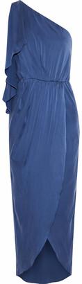 Alice + Olivia Oleta One-shoulder Draped Washed Stretch-silk Midi Dress