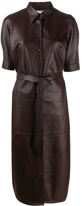 Frame Lambskin Pinafore Dress
