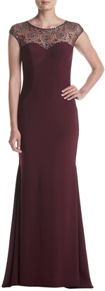 Xscape Evenings Women's Long Dress with Bead Illusion Top