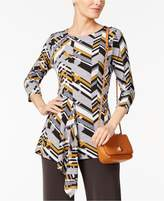 Alfani Chevron-Print Draped Top, Created for Macy's
