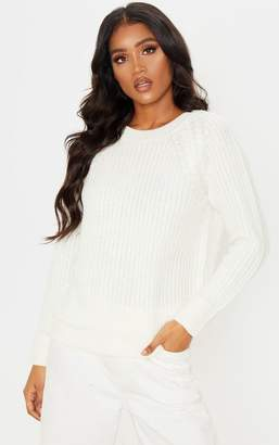 PrettyLittleThing Cream Cable Shoulder Chunky Knitted Jumper