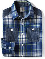 Classic Boys Husky Flannel Shirt-Dark Bay Blue Plaid