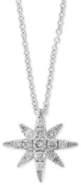 "Effy Diamond Star 18"" Pendant Necklace (1/4 ct. t.w.) in 14k White Gold"