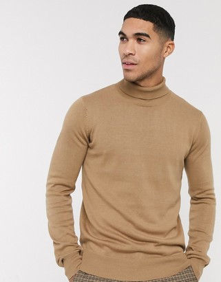 Bench knitted roll neck in camel-Tan