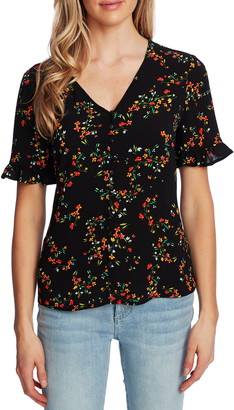 CeCe Blustery Buds Ruffle Sleeve Button Front Top