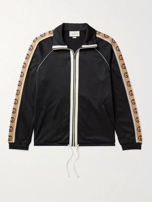 Gucci Logo-Jacquard Webbing-Trimmed Tech-Jersey Track Jacket - Men - Black