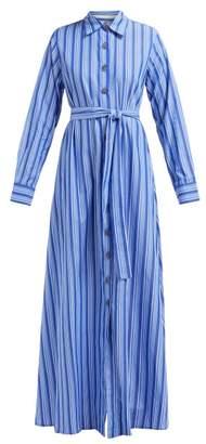 Evi Grintela Valerie Striped Cotton Maxi Shirtdress - Womens - Blue