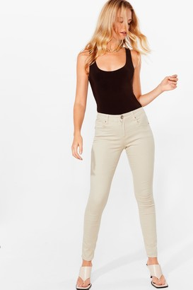 Nasty Gal Womens button in stretch skinny jeans - Tan - 12