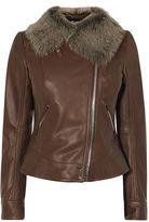 Karen Millen Sheepskin And Leather Aviator Jacket