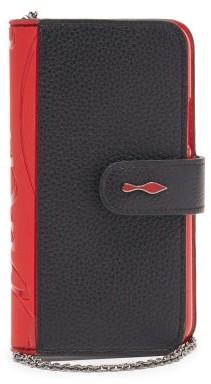 Christian Louboutin Loubiflap Iphone 11 Pro Leather Phone Case - Black Red