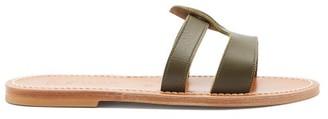 K. Jacques Thanos Leather Slides - Khaki