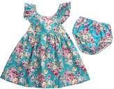 honeys Baby Girls 2pcs Clothes Skirt Set Lotus Leaf Collar Ruffled Floral Dress+Bottom (0-6m, )