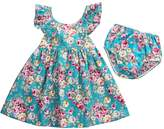 honeys Baby Girls 2pcs Clothes Skirt Set Lotus Leaf Collar Ruffled Floral Dress+Bottom (6-12m, )