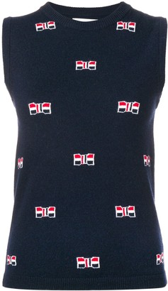 Thom Browne Bow Cashmere Navy Crew Neck