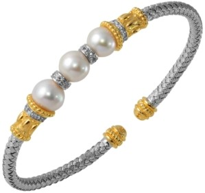 PRIME ART & JEWEL Freshwater Pearl and Cubic Zirconia Braided Cuff in Sterling Silver