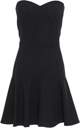 Dolce & Gabbana Strapless Flared Wool-blend Crepe Mini Dress