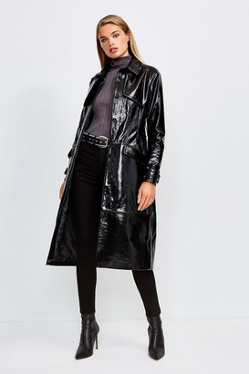 Karen Millen High Shine Leather Mac