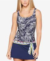 Jag Tropical Palm Thigh-Minimizing Tie-Waist Swimdress Women's Swimsuit