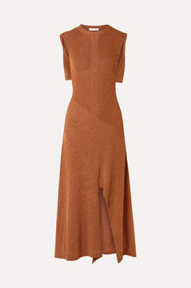 Chloé Cape-effect Knitted Midi Dress - Brown