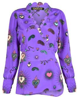 Stardust - Purple Viscose Wrap Style Blouse - xs | viscose | purple - Purple/Purple