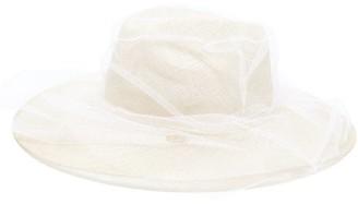 Stephen Jones Tulle-veil Straw Trilby Hat - Womens - Beige Multi