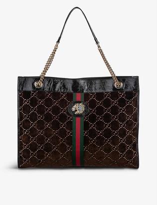 Resellfridges Pre-loved Gucci Rajah velvet and leather tote bag