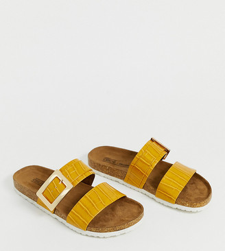Asos Design DESIGN Wide Fit Fool For You sliders in mustard croc-Yellow