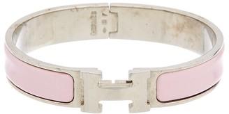 Hermes Pink Enamel Narrow Printed Enamel Clic-Clac Bangle Bracelet Pm