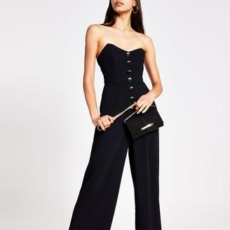 River Island Womens Black bandeau button front jumpsuit