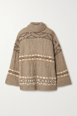 HOLZWEILER Dypvag Oversized Intarsia Knitted Turtleneck Sweater - Brown