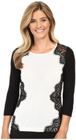 Vince Camuto Long Sleeve Sweater with Side Lace Trim