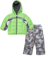 London Fog Green & Gray Puffer Coat & Gray Snow Pants - Toddler