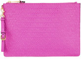 Moschino logo embossed clutch - women - Leather - One Size