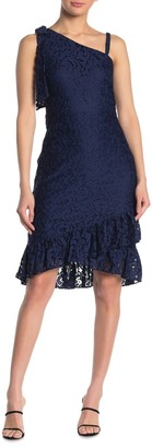 Kensie One Shoulder Ruffled Lace Dress