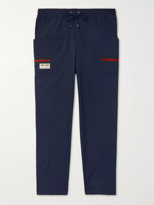 Gucci Navy Tapered Logo-Appliqued Tech-Jersey Drawstring Trousers