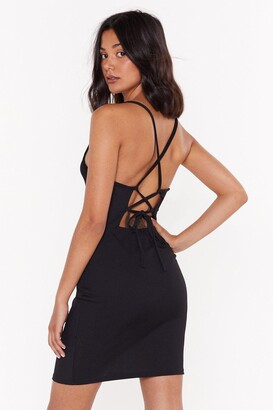 Nasty Gal Womens Crossed the Line Strappy Mini Dress - black - 14