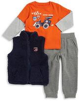 Kids Headquarters Boys 2-7 Sherpa Vest, Car Graphic Tee and Sweatpants Set