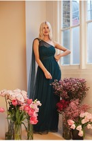 Thumbnail for your product : Little Mistress Bridesmaid Karter Emerald Green Bow Detail One-Shoulder Maxi Dress