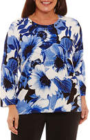 Alfred Dunner High Roller Floral Pullover Sweater-Plus