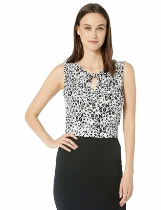 Nine West Women's Plus Size Printed ITY with Knotted Key Hole Neck Detail