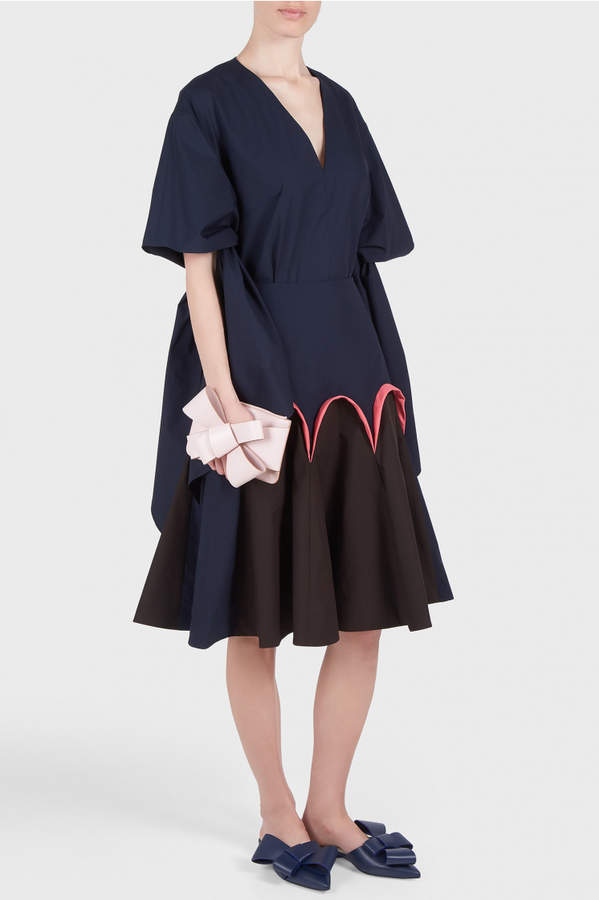 DELPOZO Poplin Godet Skirt