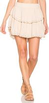 LoveShackFancy Ruffle Mini Skirt in Tan