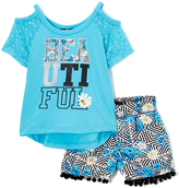 Dollhouse Blue 'Beautiful' Cutout Top & Shorts - Toddler & Girls