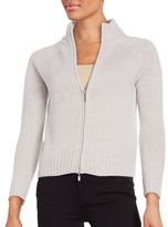 Lord & Taylor Petite Cashmere Zip-Front Cardigan