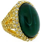 Kenneth Jay Lane Gold & Emerald Green Opal Stone Oval Ring