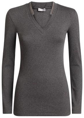 Brunello Cucinelli Stretch-Cotton Long-Sleeved T-Shirt