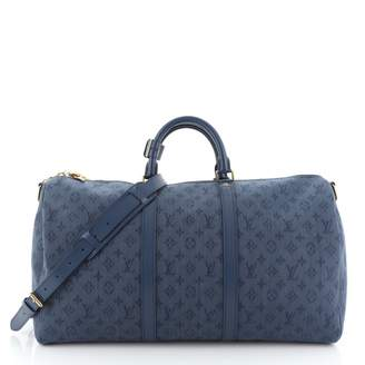 Louis Vuitton Keepall Blue Leather Travel bags